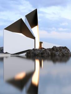 moderne Architektur und minimalismus in wahrem sinn des wortes_ein modernes haus an der küste mit moderne weiße fassade und Glasfassade_concept 77