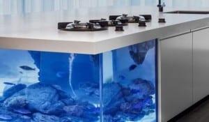moderne Kochinsel als einrichtungsidee für weiße Küche mit Aquarium