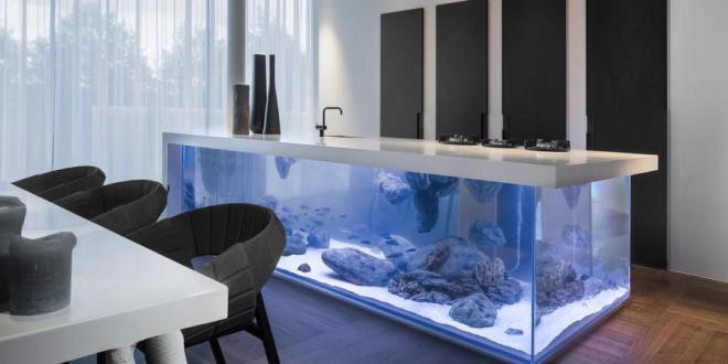 moderne küche einrichtung mit Aquarium-Kochinsel in weiß