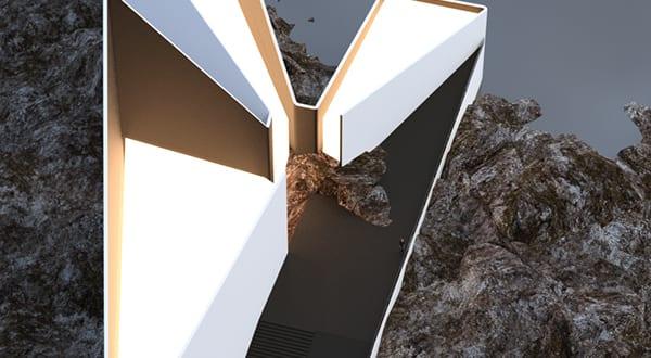 modernes haus mit dreieckigem Grundriß und dreieckige dachverglasung_minimalismus in wahrem sinn des wortes