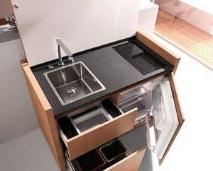 platzsparende Küche Idee mit k1-mini-küche von kitchoo