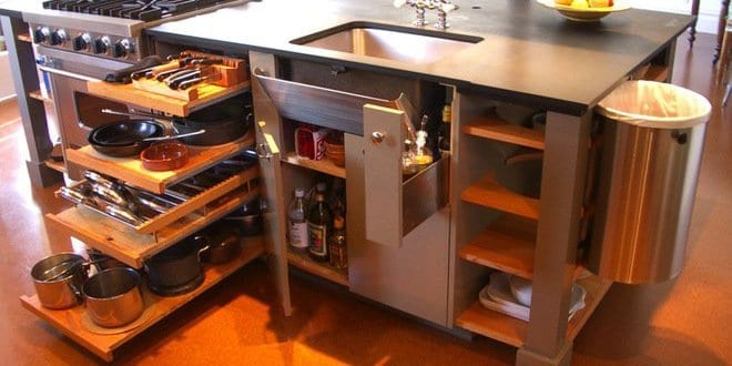 platzsparende idee für küche mit multifunktioneller Kochinsel MacGyver