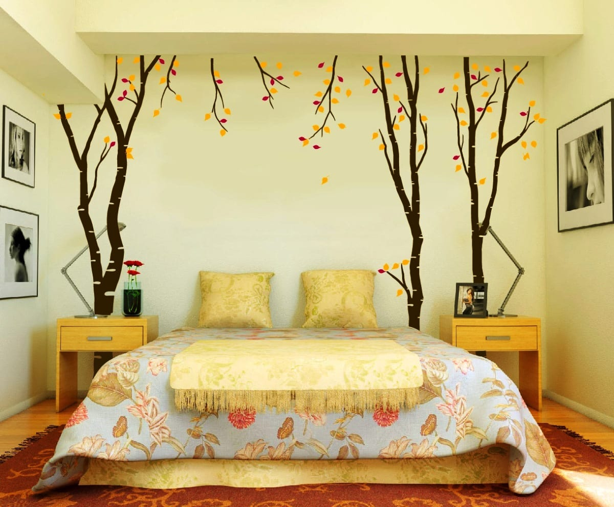 Schlafzimmer wandgestaltung ideen  schlafzimmer deko ideen mit coole wandgestaltung und wandtattoos ...