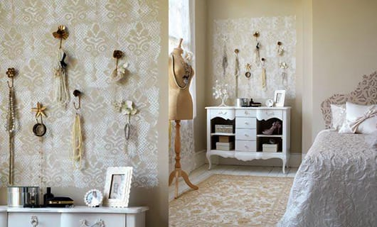 vintage schlafzimmer deko idee als wanddeko mit schmuck - Wanddeko Schlafzimmer