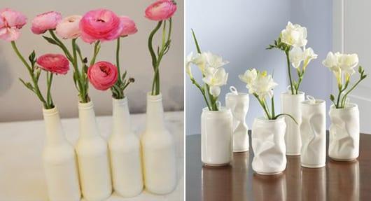 Blumenvase Weiss Selber Basteln Aus Dosen Und Glasflaschen Freshouse