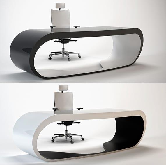 b ro schreibtisch design in wei und schwarz vom. Black Bedroom Furniture Sets. Home Design Ideas