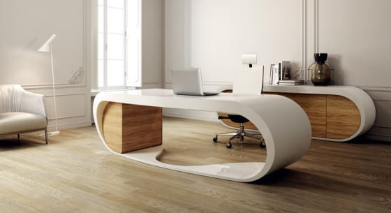 Schreibtisch design holz  büroräume einrichtung mit designer schreibtisch weiß und büroschrank ...