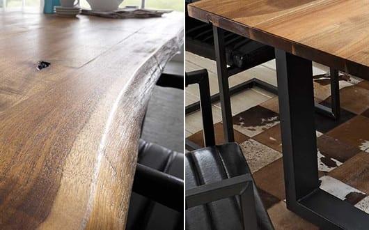 esszimmer gestalten mit esstisch massivholz mit schwarzen metallrahmen beinen und. Black Bedroom Furniture Sets. Home Design Ideas