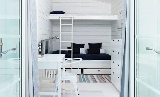 kleines kinderzimmer einrichten mit etagenbett und coole kinderzimmergestaltung in wei und. Black Bedroom Furniture Sets. Home Design Ideas
