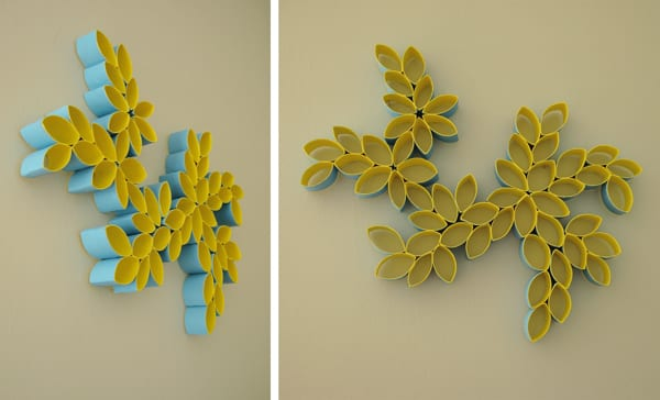 kreative wandgestaltung mit Papphülsen als wanddekoration selber ...