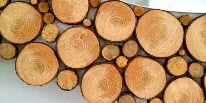 Rahmen aus Holzscheiben für Designer Spiegel