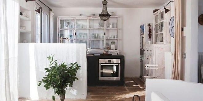 rustikale küche weiß mit kochinsel aus beton und rustikale ...