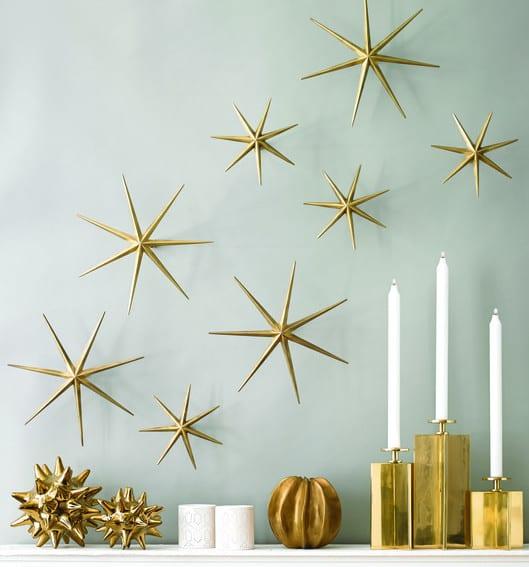 dekoideen wohnzimmer und moderne wandgestaltung mit goldenen sternen ...