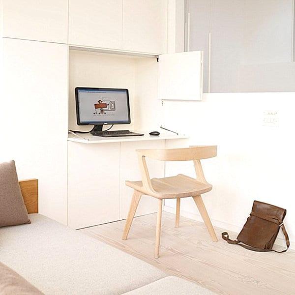 home office einrichtungung als versteckter arbeitsplatz mit ...