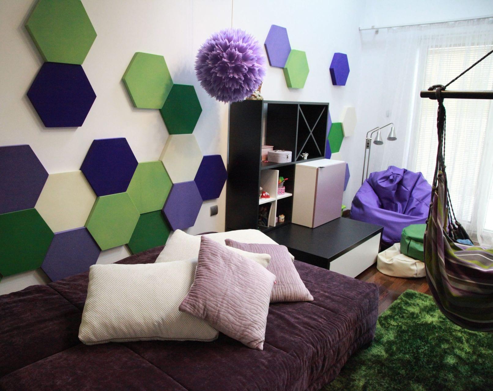 Kreative Wohnideen Für Moderne Wandgestaltung Wohnzimmer Und Farbgestaltung  Wände In Grün Und Lila