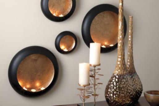 Charmant Wohnzimmer Wandgestaltung Mit Schwarzen Kerzenhaltern Rund