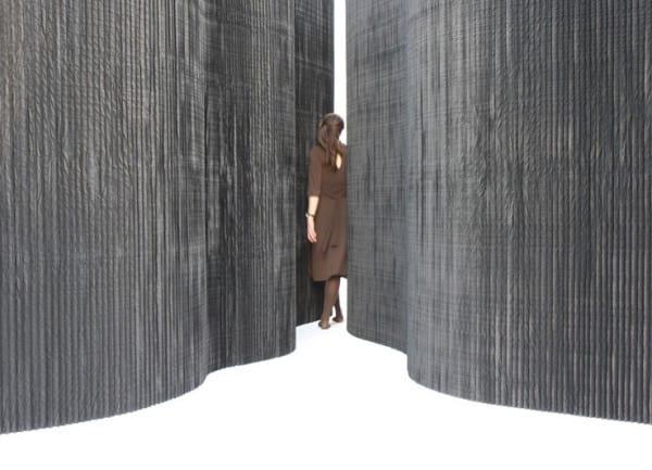 moderne und mobile trennw nde aus textil in schwarz und. Black Bedroom Furniture Sets. Home Design Ideas