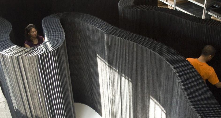 Schwarze Trennw 228 Nde Aus Kraftpapier Und Textil Mit Integriertem Led Leuchten Freshouse