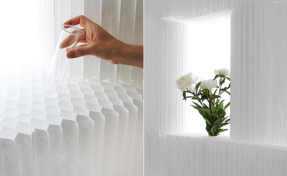 trennw nde aus papier mit zellenf rmiger struktur freshouse. Black Bedroom Furniture Sets. Home Design Ideas