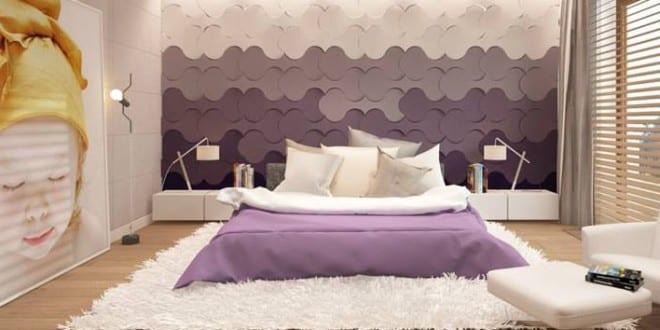 wohnidee für moderne wandgestaltung schlafzimmer mit 3d paneelen ... - Moderne Wandgestaltung Wohnzimmer Lila