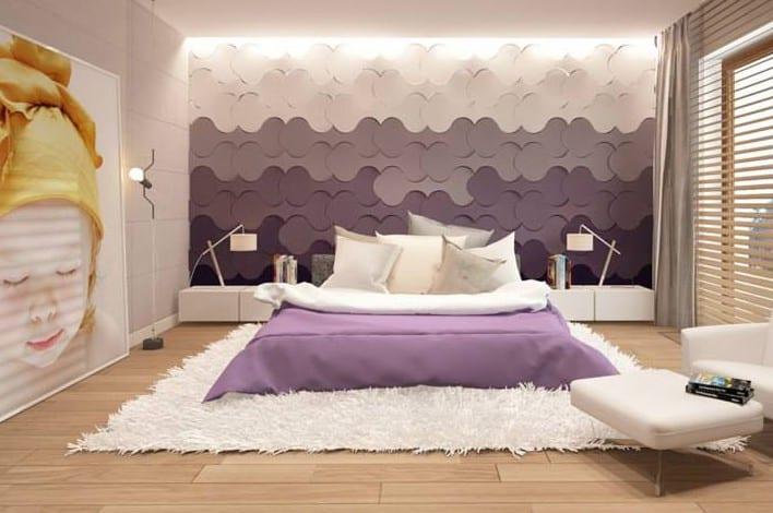 Fantastisch Wohnidee Für Moderne Wandgestaltung Schlafzimmer Mit 3d Paneelen Und Coole  Farbgestaltung In Weiß Und Lila