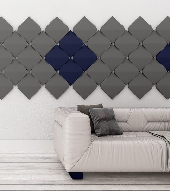 Wohnidee Für Moderne Wandgestaltung Und Farbgestaltung Wände Mit 3d  Paneelen Blau Und Grau