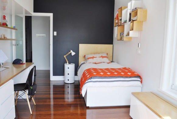 coole zimmer ideen f r jugendliche und jugendzimmer modern gestalten in schwarz und orange. Black Bedroom Furniture Sets. Home Design Ideas