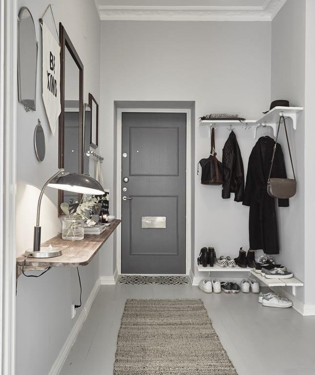 eingang gestalten in wei und grau kluge einrichtungsideen f r kleine r ume freshouse. Black Bedroom Furniture Sets. Home Design Ideas