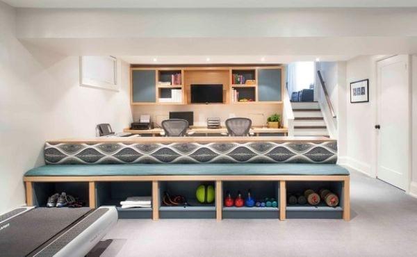 einrichtungsidee f r kleines fitnessstudio zu hause von meghan carter design freshouse. Black Bedroom Furniture Sets. Home Design Ideas