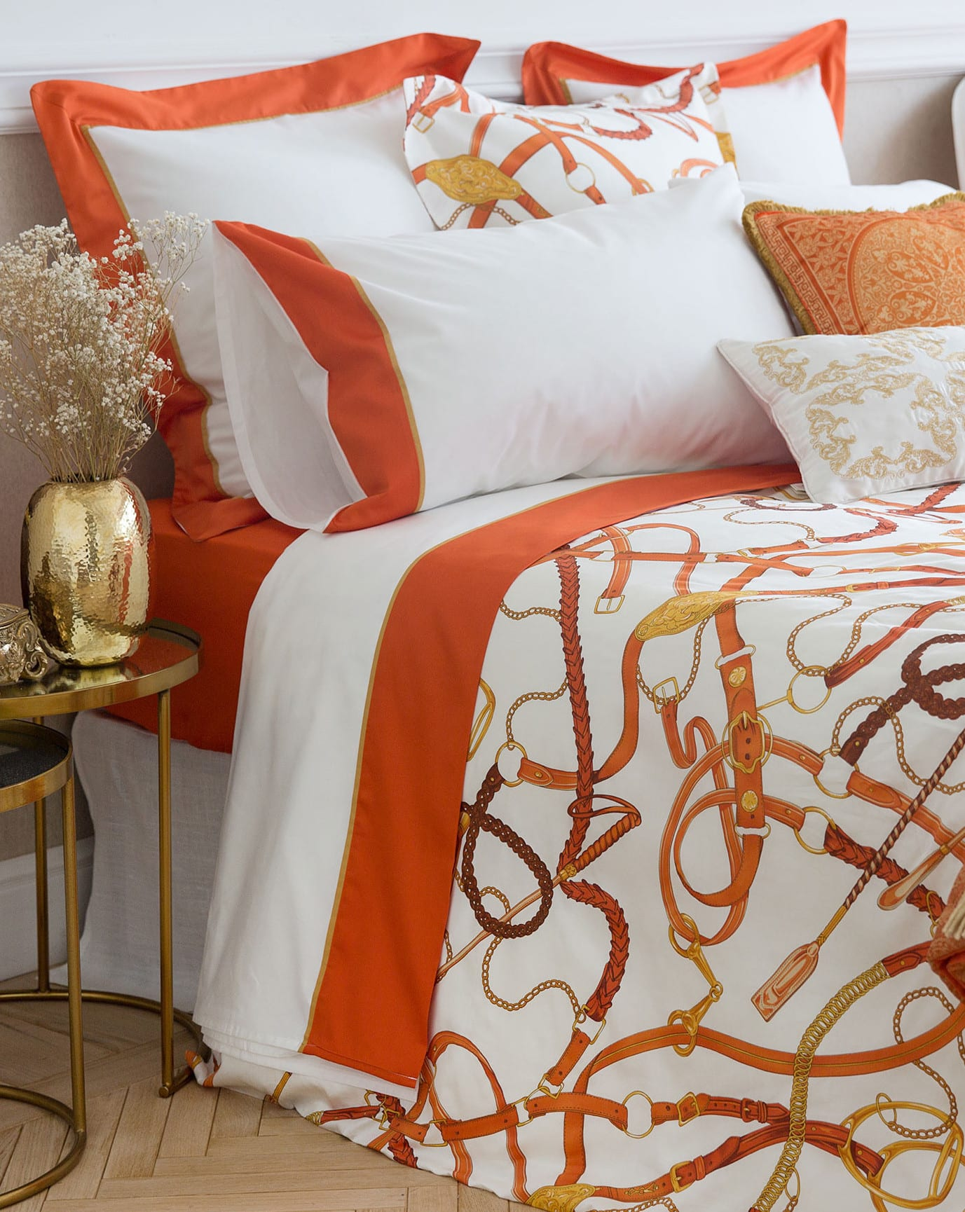 GroB Zara Home Schlafzimmer Ideen Mit Moderner Zara Bettwäsche Weiß Und Orange