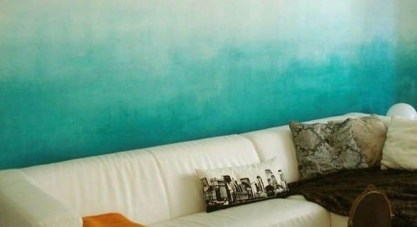 coole streichen ideen und techniken f r moderne wandgestaltung in ombre blau freshouse. Black Bedroom Furniture Sets. Home Design Ideas