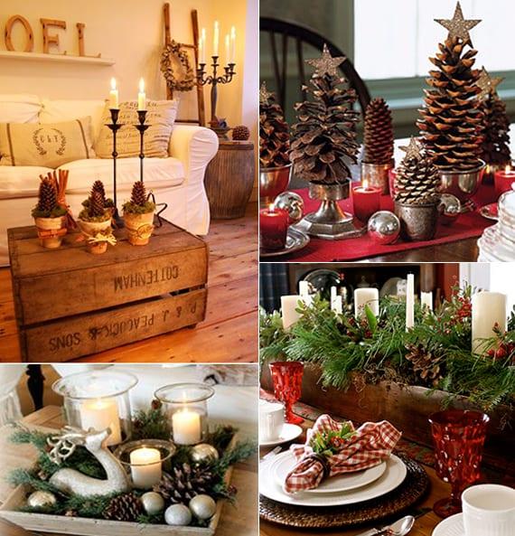 dekoideen f r sch ne und frohe weihnachten tischdeko weihnachten mit zapfen und silbernen. Black Bedroom Furniture Sets. Home Design Ideas