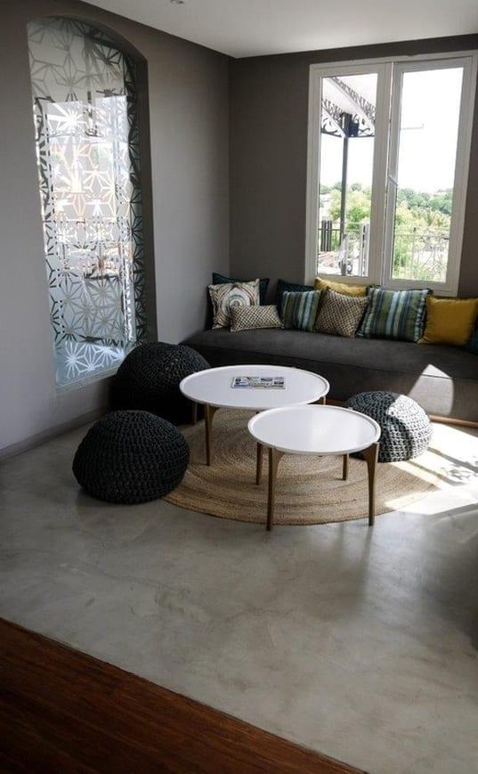 estrich-moderner fußboden im industrial style für kleine wohnzimmer ...