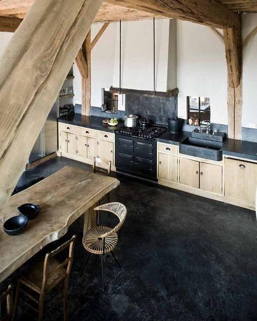 Estrich Schwarz Der Fussboden Im Industrial Style Fur Kuche Aus Holz
