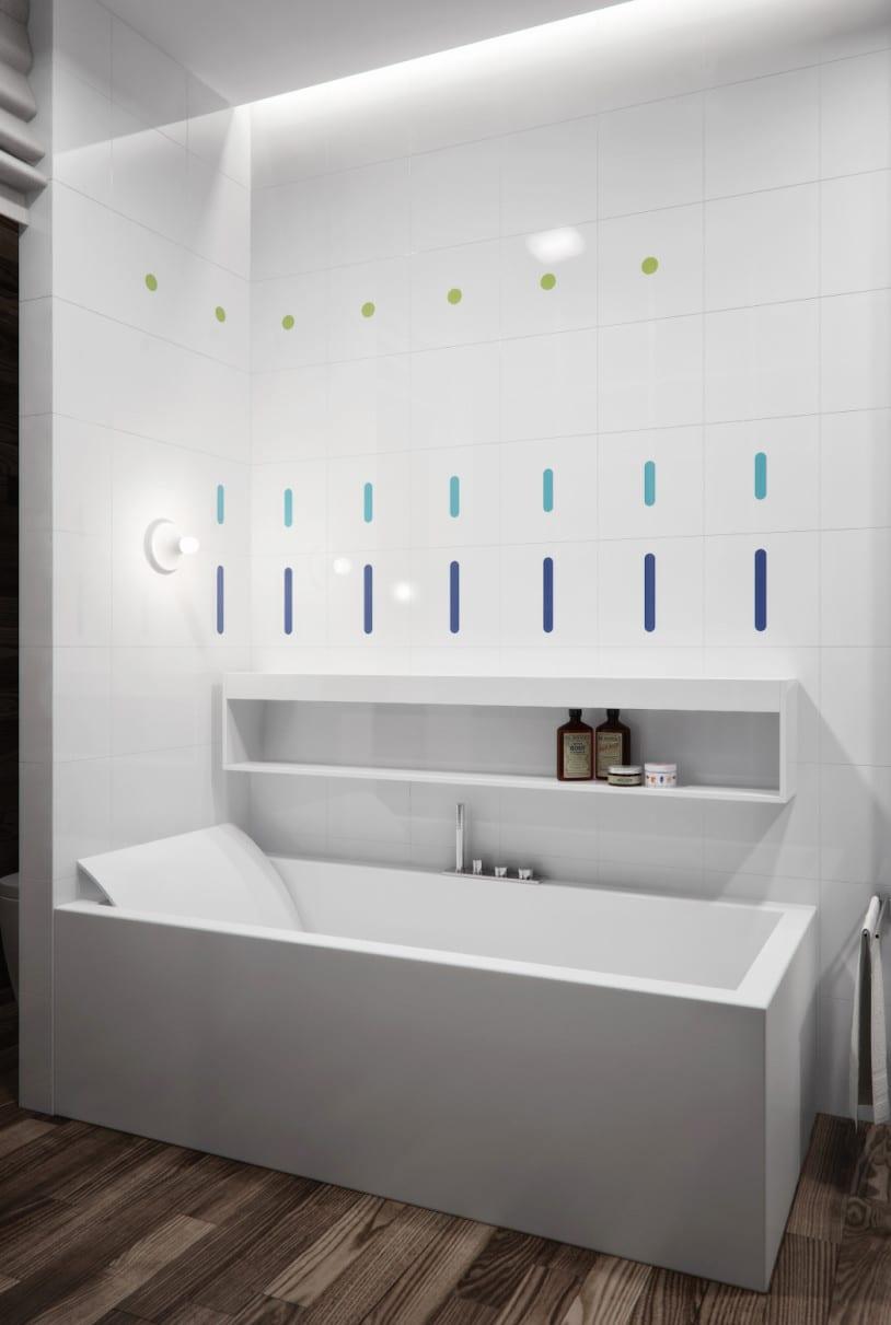 kleine und moderne badezimmer mit badewanne rechteckige badewanne wei und wei e fliesen im bad. Black Bedroom Furniture Sets. Home Design Ideas