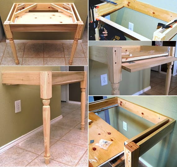 Kleiner Schreibtisch Wei 223 Selber Bauen Mit Ausziehbarem Regal Diy Computertisch Freshouse