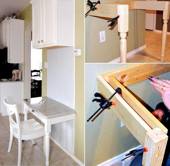 kleiner wei er schreibtisch selber bauen f r kleinen arbeitsplatz in der k che freshouse. Black Bedroom Furniture Sets. Home Design Ideas