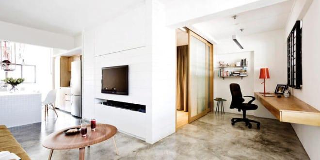 moderne einrichtung mit estrichboden für 1-zimmer-appartement ...