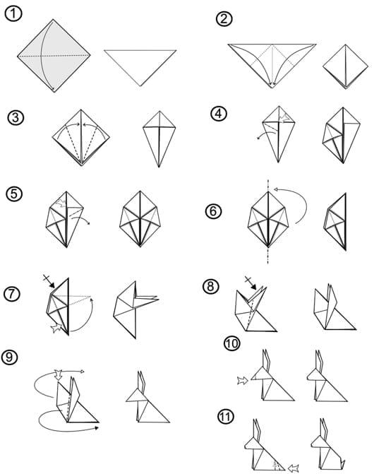 osterhase basteln als origami mit anleitung kreative osterdeko basteln f r ostern freshouse. Black Bedroom Furniture Sets. Home Design Ideas