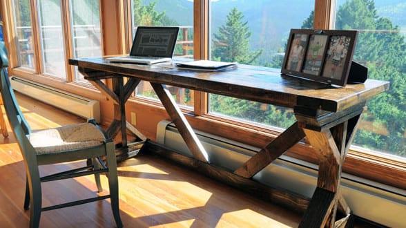 Rustikaler Schreibtisch rustikaler schreibtisch selber bauen aus holz coole idee für diy