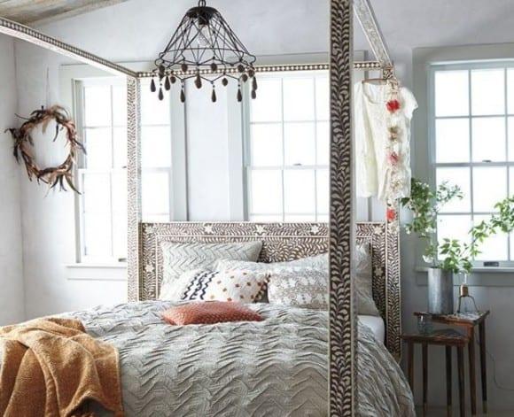 schlafzimmer ideen im boho stil mit Bettrahmen für Baldachin ...
