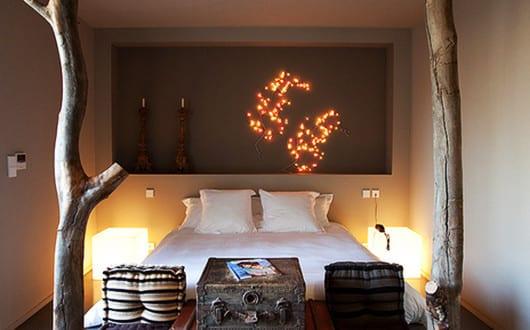 Schlafzimmer ideen im boho stil coole schlafzimmer gestaltung mit holz sten und sitzpolstern - Schlafzimmer ideen gestaltung ...