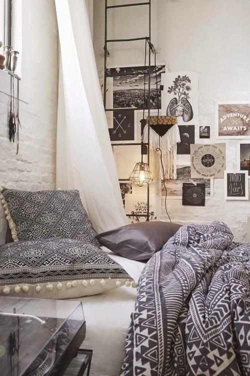 schlafzimmer ideen im boho stil_kleines schlafzimmer in schwarzweiß ...