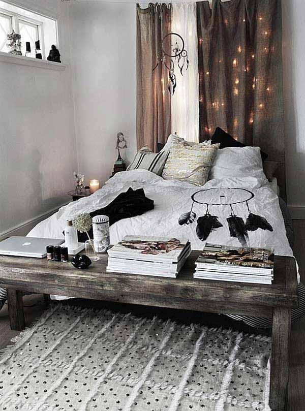 schlafzimmer ideen im boho stil_kleines schlafzimmer rustikal ...