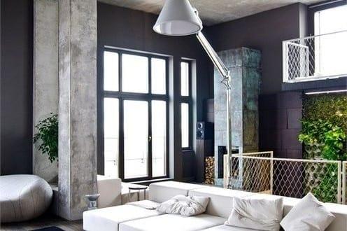 Schwarze nde als coole wohnidee und wand streichen idee f r loft wohnungen aus beton freshouse - Idee wand streichen ...