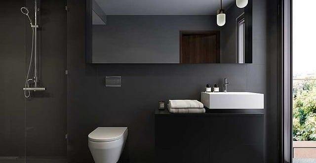 schwarze w nde f r moderne badezimmer einrichtung mit waschtisch schwarz und wandspiegelschrank. Black Bedroom Furniture Sets. Home Design Ideas