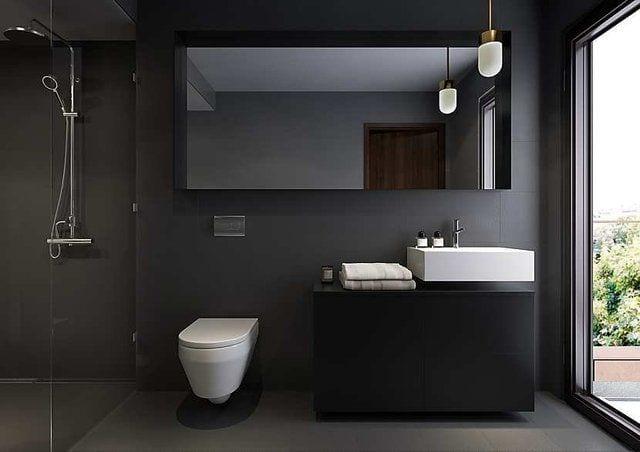 Schwarze Wände Für Moderne Badezimmer Einrichtung Mit Waschtisch