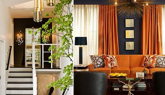 Wohnideen Orange schwarze wände mit anderen farben kombinieren coole wohnideen für