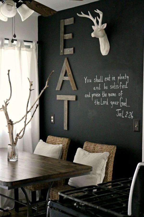 schwarze wände streichen und kreativ gestalten für rustikales ... - Wohnzimmer Design Einrichtung