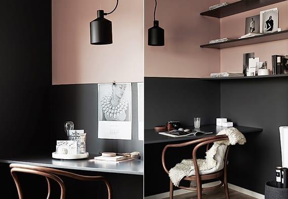 schwarze w nde und altrosa wandfarbe als coole wand streichen idee moderne farbgestaltung. Black Bedroom Furniture Sets. Home Design Ideas